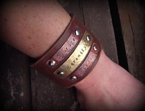 Serenity, Wisdom, Courage Leather cuff, hand stamped copper and brass, by Recreate4U