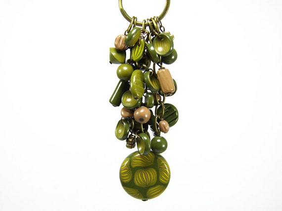 Magic Forest Green Keychain Charms - Gifts for Women - Bag Ring - Green Unique Beaded Keychain - Accessories for Women - Bag Accessories