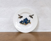 Blue Bees Small Bone China Plate