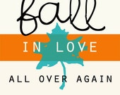 """Fall in Love - retro - 5x7"""""""