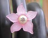 Pink Ring-Flower ring-Pink Flower ring-Lucite Flower ring-silver wire wrapped ring-Pink Lucite Ring- beaded jewelry