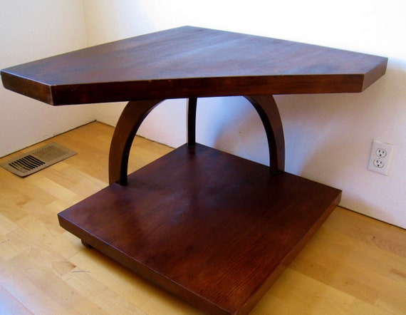 Mid Century Modern two tiered corner table in the manner of Paul Frankl Art Deco occasional table