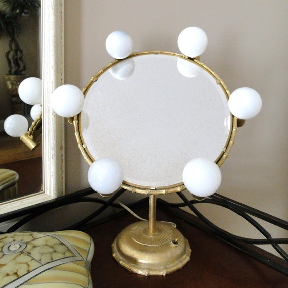 vintage mirror hollywood regency movie set glamour lighted