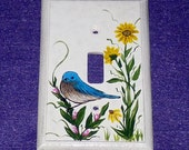 Decorative Hand Painted Blue Bird Light Switch Plate Wood Wall Cover Single Outlet Plug Cover OOAK Unique Gift Housewarming