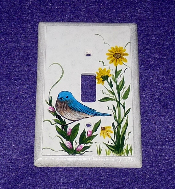 decorative hand painted blue bird light switch plate wood wall