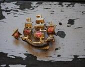 Vintage Spanish TOLEDOWARE Pirate Ship Brooch