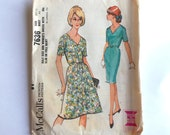 Vintage 60s McCalls Sewing Pattern 7636 Fitted Dress with A-Line or Pencil Skirt and Short Sleeves Size 20.5 Bust