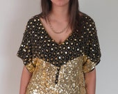 Black and Gold Sequin Blouse - Small/Medium