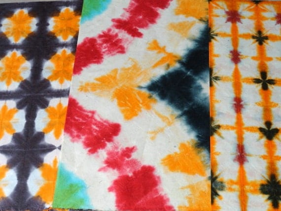Handmade Paper in Batik Tie and Dye - Set of 3 gift wrapping papers Red, Orange & Black