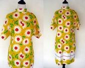 1960s Mod Yellow Floral Dress