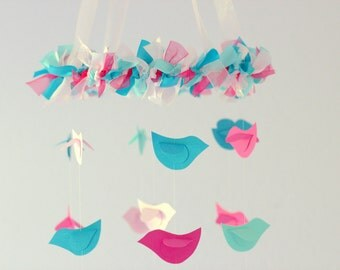 Bird Nursery Mobile in Pink Turquoise & Aqua Small Size- Nursery Mobile, Baby Shower Gift, Photographer Prop