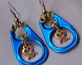 Electric Blue Earrings, Pull Tabs, Recycled, Heart, Upcycled, Romantic, Modern, Mediterranean