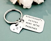 Hand Stamped Personalized Key Chain - Stainless Steel Tag with Key Ring - Men's Gift Idea - Custom Gift for Him or Her