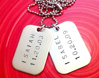 Personalized Dog Tags - Hand Stamped Daddy, Mens Necklace - Custom Mens Jewelry - Children's Name and Birthdate Discs - New Dad Gift - Twin