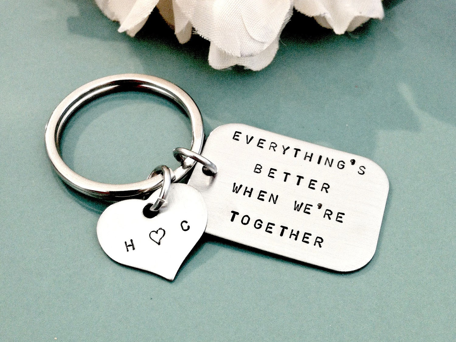 Best Valentine S Day Gifts For Him Hand Stamped Personalized Key Chain Stainless Steel Tag With
