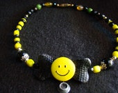 Steelers Dog Collar - Love My Steelers - OOAK Beaded Collar, Handsculpted Dog Bone with Steelers smiley - 18 inches
