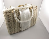 Vintage white purse plastic with lucite accents and handle
