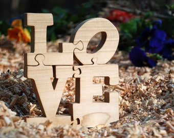 Love Puzzle Made of Wood - Love is All You Need