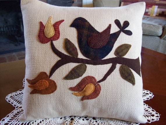 RESERVED FOR SANJEET Autumn Folk Art Bird on Cream Upholstery Fabric Pillow Slipcover