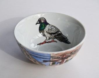 City & Pigeon Bowl - Hand Painted