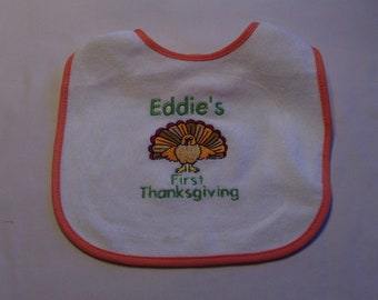 Personalized First Thanksgiving Baby Bib, Turkey Day, Thanksgivng Baby Gift