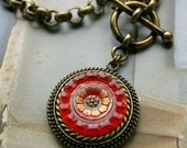 Glass Pendant Necklace, Art Glass and vintage crystal, toggle clasp necklace, button jewelry