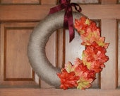 Yarn Wrapped Fall Wreath with Leaves