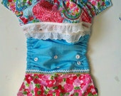 Country Springtime, Girls Pink & Aqua Paisley Floral Ruffled One size Pocket Diaper
