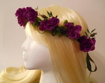 Purple Rose Ivy Flower Crown Purple Mardi Gras Wedding Rose for a Flower Girl Bridal Festival Renaissance Fair Gypsy Purple Fairy Kawaii