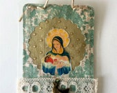 Virgin Mary with a bird. Hand Made Relic.