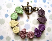 Stamped Polymer Clay Bracelet - Green and Purple Texture Tiles
