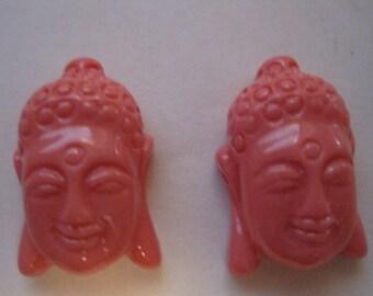 2 SALMON PINK Tibetan Buddha Beads - 10% off during the month of May use code Springfun