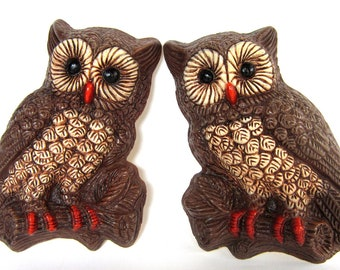 Vintage 1970s Owl Wall Plaques, Woodland Art Wall Hangings
