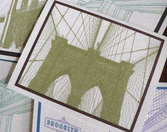 Brooklyn Bridge Note Card SET of 16. Brooklyn Stationery. Brooklyn Gift. Vintage & Modern. Blank Inside. New York City. Made in Brooklyn.