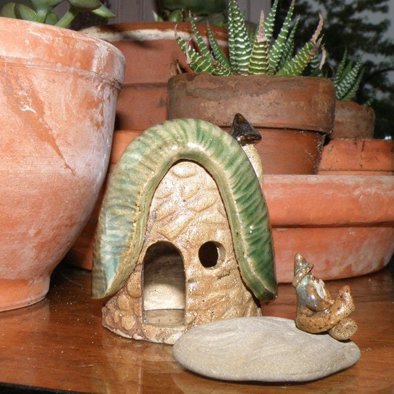 Gnome Home 8 with Gnome and Rock - Tiny Pottery Sculptures for Miniature Gardens, Fairy Garden, Terrarium, or Dollhouse