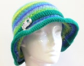 Crochet Hat             Blue Multicolor Stripe Wool                  Peacock Pendant                   ooak - SophiesHatsandMore