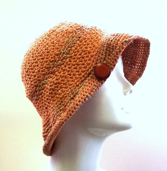 Ladies Hat, Crochet Cloche,  Silk Linen Cotton, Sun Hat, Spring, Summer, Beach Apparel