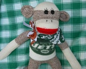 New York Jets Football Classic Brown Red Heel Sock Monkey Doll