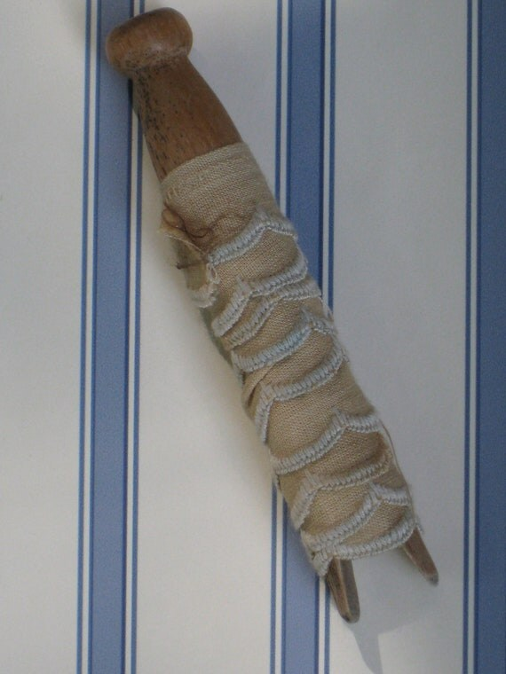 Antique Cotton Trim With Blue Scalloped Edge - On Antique Wood Clothespin