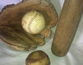 Vintage Baseball Glove, Bat and 2 Balls