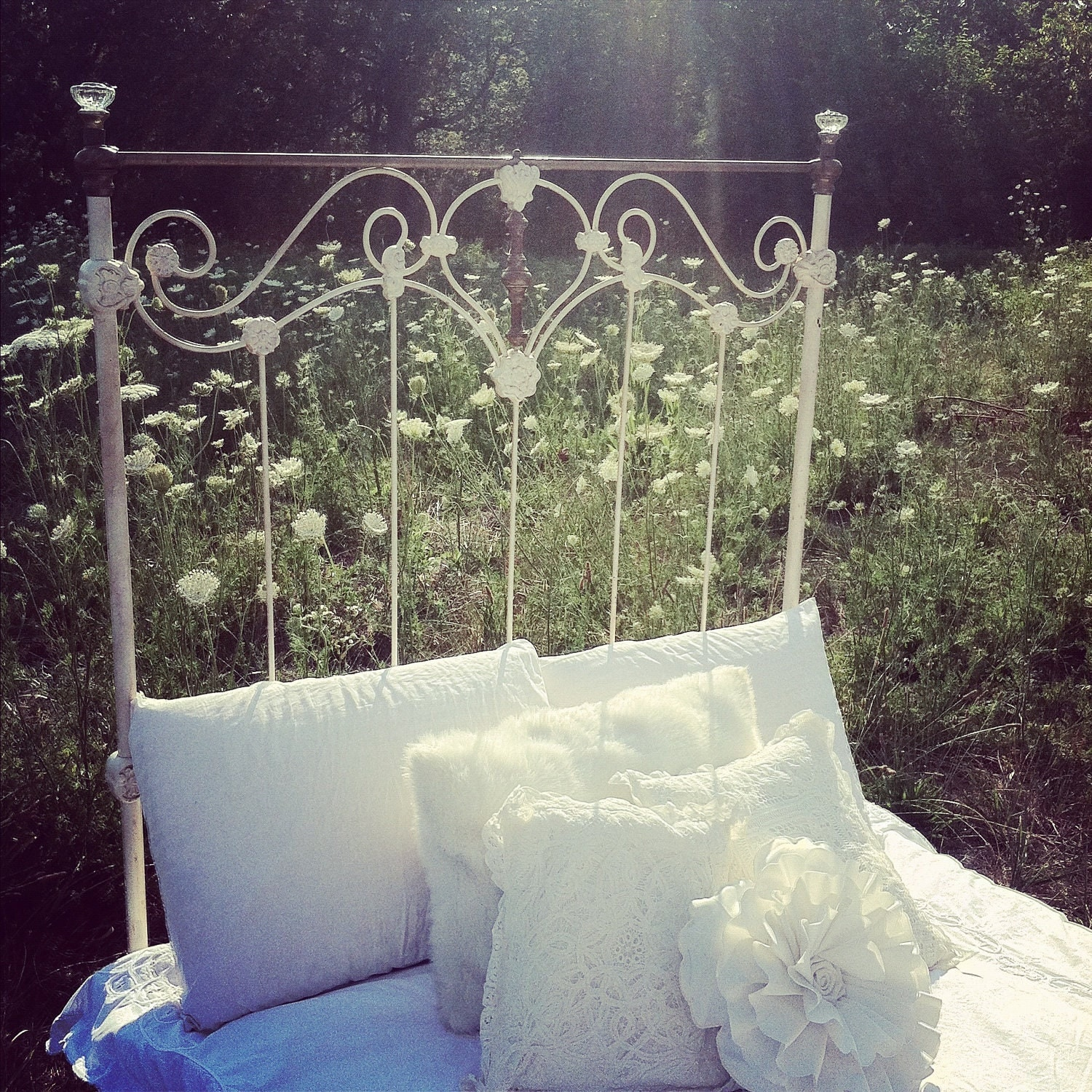 Antique Vintage Cast Iron Scroll Bed