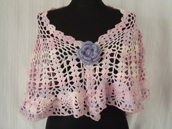 capelet women hand made fall fashion crochet light pink and light lilac white full color wedding fashion unique free shipping