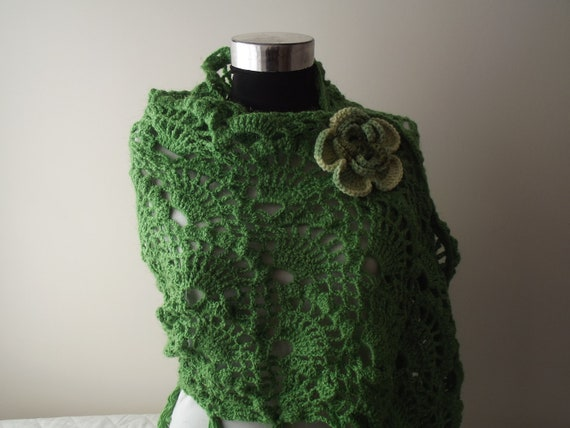 Free Shipping crochet shawl  accessories  Green Shawl Green Tasseled l Wrap Crochet Unique Handmade Ready for Sale FREE SHIPPING