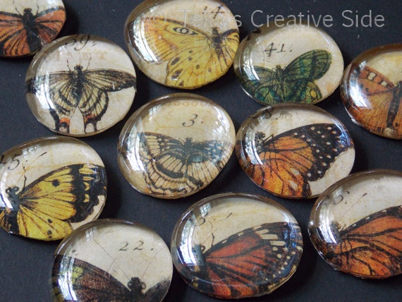 Vintage Butterfly Glass Magnets for party favors, jars, and  stylish decor.