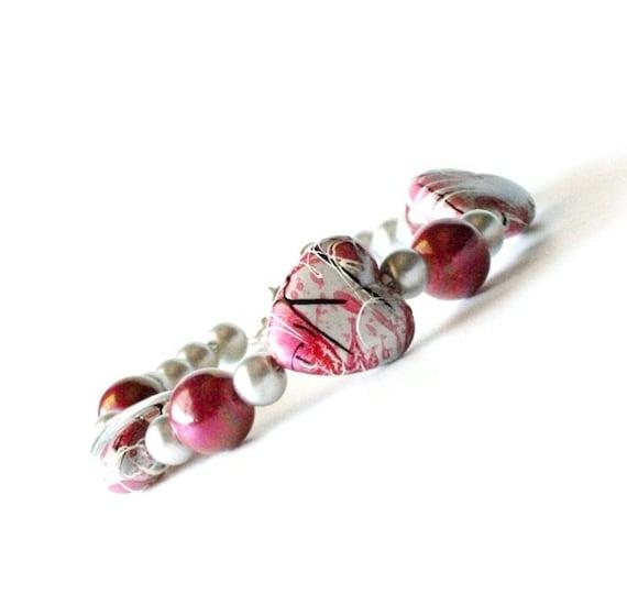 Single Heart Bracelet-  Pink Flambe', Fall Jewelry, Autumn Jewelry, Fall, Trend