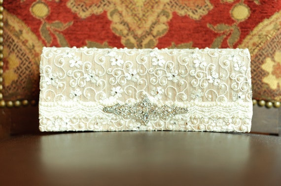 Stunning Satin and Lace Ivory Bridal Clutch with Pearl and Rhinestone Accents