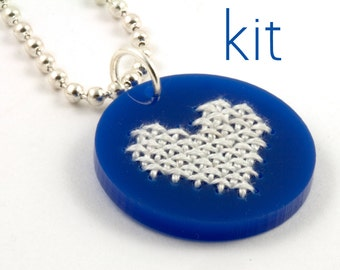 Necklace Kit, Cross Stitch Kit, Embroidered Jewelry, DIY Kit, Heart Pendant, Valentine's Day Gift, Teen Gift, Tween Gift