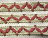 "1 Yard Vintage Victorian French 1960's Ivory And Pink Swag 11/16"" Wide Rayon Trim"