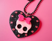 Kawaii Heart Skull with Bow and Rhinestones NECKLACE
