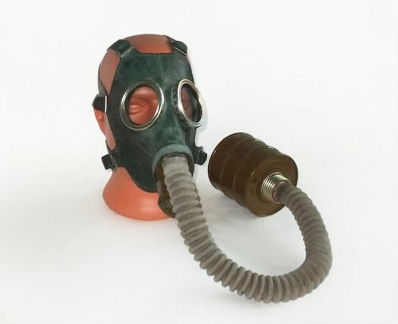 Vintage Soviet Rubber Gas Mask with Hose, Filter and Bag,